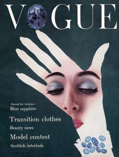 A vintage Vogue cover design from August 1954. How things have changed. The simplicity of this cover, with more emphasis on the image and design, then bold fonts and busy text. The colours offer a elegance, a sophisticated touch, with the emerald greens and deep blues that trigger ideas of wealth and richness.