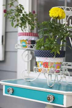 Beautifully Rooted - Patchwork Pots!  Cover pots with fabric