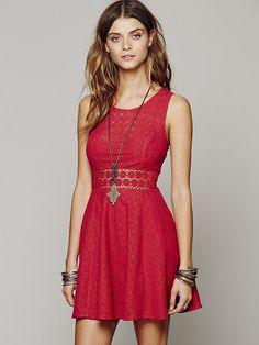 NWT Free People Red Daisy Waist Sleeveless Fit & Flare mini Dress Women's size 4 #FreePeople #fitflare