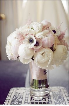 White & Pale Pink Garden Roses, Anemone and Greens