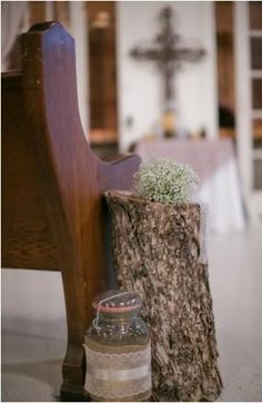 Tree stumps with burlap covered jar as pew decorations at country wedding. Wedding Pew Decorations, Wedding Pews, Plan My Wedding, Wedding Blog, Wedding Planning, Tree Stumps, December 7, Trading Post, Elegant Wedding