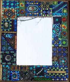 Laurel Skye Mosaics More Mirror Mosaic, Mosaic Wall, Mosaic Glass, Mosaic Tiles, Glass Art, Mosaic Bathroom, Bathroom Mirrors, Sea Glass, Tiled Bathrooms