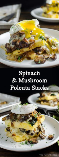 Spinach and Mushroom Polenta Stacks - a delicious Vegetarian recipe that's perfect for brunch, lunch or dinner!