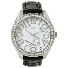 Guess Women's U95096L1 Black Leather Quartz Watch with White Dial GUESS. $94.97. 36mm Case Diameter. Mineral Crystal. 30 Meters / 100 Feet / 3 ATM Water Resistant. Quartz Movement