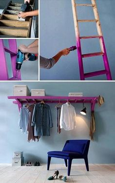 Unusual home DIY inspiration: a ladder becomes storage