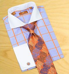 Steven Land Sky Blue/Rust Windowpanes 100% Cotton Dress Shirt With White Spread Collar / White French Cuffs DS1006