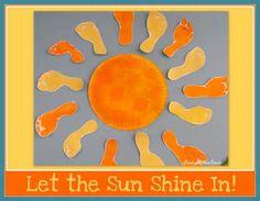 photo of: footprint Art, sunshine Art, children's painting, spring art for children, bulletin board Daycare Crafts, Baby Crafts, Toddler Crafts, Fun Crafts, Crafts For Kids, Arts And Crafts, Daycare Rooms, Toddler Art, Beach Bulletin Boards