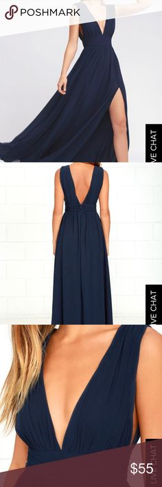 XS Lulus Heavenly Hues Navy Blue Maxi Formal Dress You'll be goddess-like for the entire evening in the Heavenly Hues Navy Blue Maxi Dress! Perfect for a formal event, prom or a wedding ❤️ Georgette fabric drapes alongside a V-neck and back, and lays across a banded waist. Full maxi skirt has a sexy side slit. Hidden back zipper with clasp. Size: XS Condition: Excellent, worn once. Lulu's Dresses Wedding