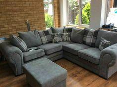 Baron New Large Grey Silver Sofa Fabric Corner 3+2+1 Or Left Right Chesterfield · $635.00 Chesterfield Corner Sofa, Couch, Silver Sofa, Sofa Deals, Velour Fabric, Price Comparison, Baron, Fabric Sofa, Armchair