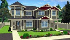 Elevation of Victorian   Multi-Family Plan 99938