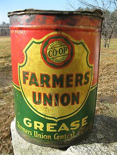 Vintage Farmers Union Co-Op Grease Can St Paul Mn Oil Tin 5 Lb Pound