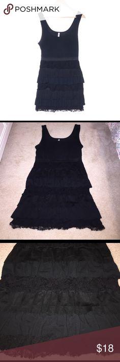 Black ruffle dress Layers of ruffle and lace. Sleeveless tank top dress. Super cute and classy! Xhilaration Dresses Mini