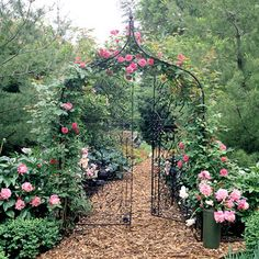 Go with a Classic Feel    If you have a classic-style garden, use a traditional metal arbor and climbing roses to run with the theme and create a perfect vignette.