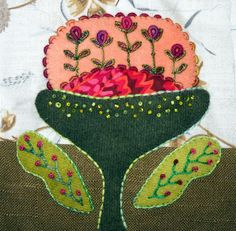 hand embroidery, little block embellishment by Kerry Stitch Designs.  Back stitch, bullion stitches, Lazy Daisy, French knots, Feather Stitch and more.  See the post for details and thread choices.