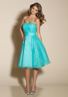 Tiffany blue flirty bridesmaid dresses by Mori Lee.