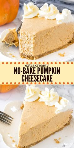 This extra creamy no bake pumpkin cheesecake has a delicious pumpkin spice flavor and cinnamon graham cracker crust. It's way easier to make than traditional cheesecake - and perfect for fall or Thanksgiving! # no bake Desserts No Bake Pumpkin Cheesecake Pecan Desserts, Mini Desserts, Fall Desserts, Just Desserts, Delicious Desserts, Dessert Recipes, Dessert Healthy, Cinnamon Desserts, Thanksgiving Desserts Easy