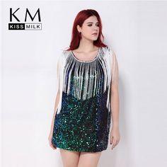 Women Fashion Plus Size Tassel Hollow Out Party Club Pencil Summer Sequin  Slim Big Size Dress d1d5688238fa