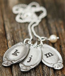 Classic Oval Spoon Necklace- Handcast in fine pewter and handstamped with any initial in your choice of an uppercase or a lowercase letter- can ship in time for #MothersDay !