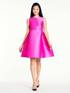 Kate Spade 'Roset' dress. Structured silk satin with a pop of color. Party perfect.