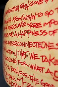 Adam Yauch wrote the lyrics to the Beastie Boys' Bodhisattva Vow on a set of skateboards, including X Games Champion Bucky Lasek's personal board. skateboards. This skateboard and many other collaborations from top skaters and Grammy Award-winning artists are being auctioned to benefit the Tony Hawk Foundation and its mission to bring free public skateparks to at-risk youth throughout the U.S. www.boardsandbands.org