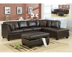 3 Pieces Bonded Leather Reversible Sectional Sofa with Ottoman