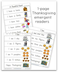 1-Page Thanksgiving Emergent Readers (free; from This Reading Mama's Thanksgiving Pack)