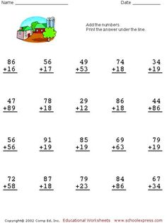 Free Addition Worksheets, 2 Digits With Carrying
