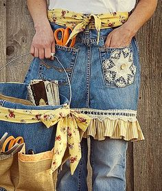 Old jeans become a pretty apron and bucket to carry your supplies.
