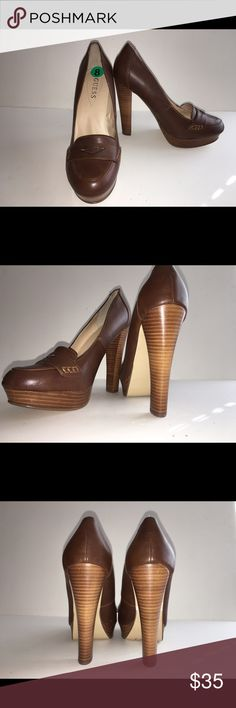 """GUESS LEATHER PENNY HIGH HEEL SIZE 8 Beautiful pair of size 8, brown leather, GUESS heels. I've worn them a few times, but they're a little too big. They are in perfect condition and look fab with dress slacks. I'm a big fan of the block heel, which happens to a sky high 5"""" and a 1"""" platform for comfort. Classic style. Guess Shoes Heels"""