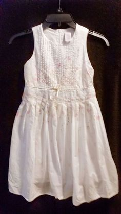 Girls Spring Floral Dress Size 7 White with Yellow Pink Flowers 100 Cotton | eBay