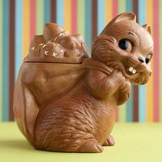 An adorable vintage squirrel cookie jar.