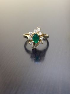 Vintage diamond-and-emerald ring