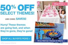 50% Off Buyer's Picks Party Themes at BirthdayExpress.com! http://becomeacouponqueen.com