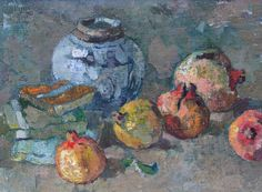 Boonzaier, Gregoire | Still Life with pomegranates | Oil on canvas | Code: 9083 | 300 x 405mm | Sold Still Life Painting, Artist At Work, Lovers Art, Painting Illustration, Artist, Still Life Art, Painting, South African Art, South Africa Art