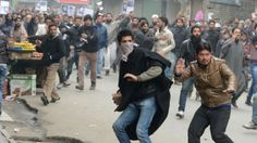 The scene of an anti-India protest in Indian-administered Kashmir (file photo)