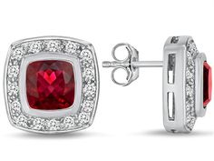 Star K 7mm Cushion Cut Created Ruby Halo Earrings Studs