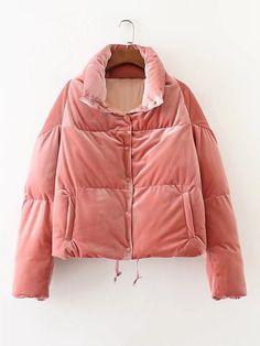 d98b6123a712 Oversized Velvet Padded Coat