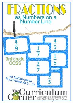 Fractions on a Number Line Fraction Activity FREE from The Curriculum Corner | Meets CCSS 3rd grade Math Standards