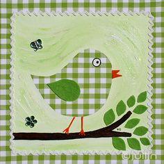 Een schilderijtje van Julijn. Op groen/wit geruit stof geschilderd. Met vilte blaadjes. te koop via www.julijn.nl
