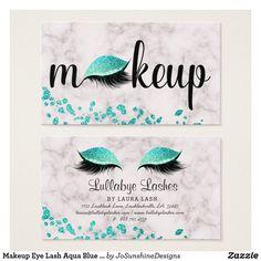 Shop Makeup Eye Lash Aqua Blue Glitter Marble Trendy Business Card created by JoSunshineDesigns. Beauty Business Cards, Salon Business Cards, Makeup Artist Business Cards, Business Card Design, Eye Makeup Tips, Makeup Geek, Estudio Makeup, Makeup Artist Cards, Korean Beauty Tips