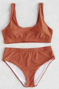Solid Color High Waist Square Neck Sport Bikini Set