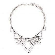 Azték stílusú ezüstszínű extravagáns nyaklánc