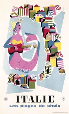 Italie by Croce 1958 Italy - Beautiful Vintage Poster Reproductions. This vertical Italian travel poster features a graphic image of a mermaid playing the guitar with beach tents circling around her. Giclee Advertising Print. Classic Posters