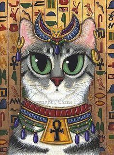 Items similar to Bast Cat Art Egyptian Goddess Cat Painting Temple Bastet Ancient Egyptian Mau Cat Fantasy Cat Art Print Cat Lovers Art on Etsy Bast Goddess, Egyptian Cat Goddess, Egyptian Mau, Gatos Cats, Cat Posters, Crazy Cats, Cat Art, Mythology, Carrie
