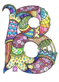 interesting letter B ZenTangle (by Sheila Arthurs) Tangle Doodle, Tangle Art, Doodles Zentangles, Zen Doodle, Zentangle Patterns, Doodle Lettering, Creative Lettering, Typography, Letter B