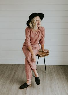 Blush Jumpsuit with Pockets | ROOLEE