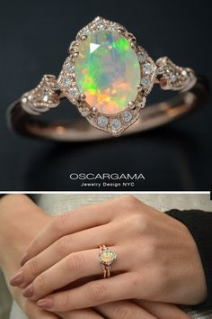 Vintage Jewelry Vintage inspired natural opal engagement ring Natural Ethiopian Opal faceted cut (not cabochon) with bursts of orange / green / yellow pink gold vintage inspired 15 natural round brilliant diamonds - Halo Engagement Rings, Vintage Engagement Rings, Vintage Rings, Vintage Jewelry, Opal Diamond Engagement Ring, Opal Wedding Rings, Handmade Jewelry, Antique Jewelry, Opal Jewelry