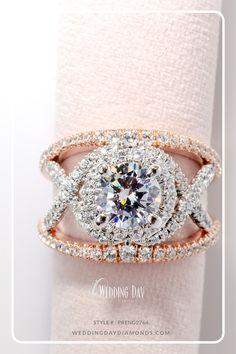 White & Rose Gold Wide Halo Split Shank Round Cut Diamond Engagement Ring