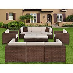 Charming outdoor patio set sports a true modern design  Linear style with contrasting color scheme make this a very unique furniture set  Patio furniture is sure to look great on your porch or backyard