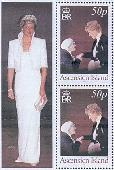 Two remarkable women on postage stamps Princess Diana and Mother Teresa The stamps of Ascension Island are produced in sheetlets of eight. A very attractive photograph of Princess Diana, Princess of Wales appears in the border. The FDC depicts Princess Diana during her visit to Leicester in May 1997.